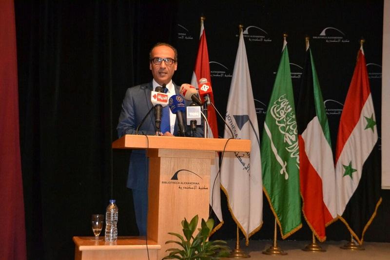 كلمة رئيس الهيئة بأفتتاح معرض الاسكندرية بمكتبة الاسكندرية 1